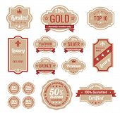 Sale discount RETRO labels. Old Design Stickers pack.  Premium, Gold, Silver, Bronze Vintage Labels.