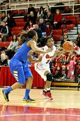 JAMAICA, NY-JAN 2: St. John's Red Storm guard Aliyyah Handford (3) drives to the net around Delaware