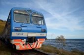 Lake Baikal,RU-Sept 22,2012:The car of tourist electric train at the station in Sept 22,2012