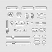 Light Web UI Elements Design Gray. Elements: Buttons, Switchers, Slider