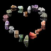 Gemstones and birthstones. Smokey Quartz, Rock Crystal, Amethyst, Agate, Olivine, Rock Salt, Vanadin