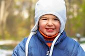 foto of cold-weather  - Boy in forest - JPG