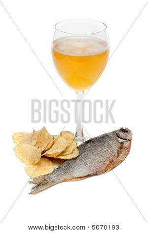 Goblet Beer, Fish And Potato Chips