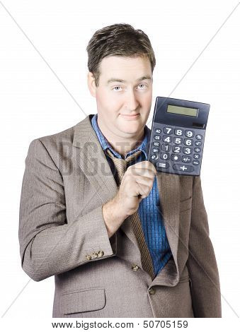 Tax Return Time. Accountant Man Holding Calculator