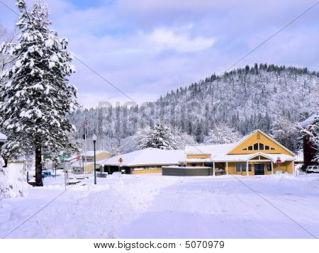 Yellow Building Snowy Rural Setting
