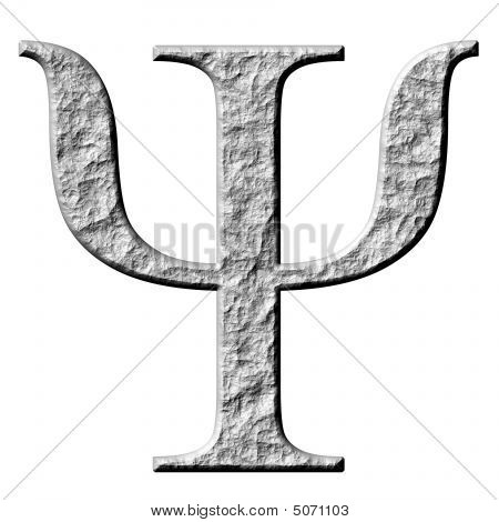 3D Stone Greek Letter Psi