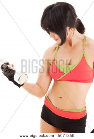 Muscular Fitness Instructor With Dumbbells