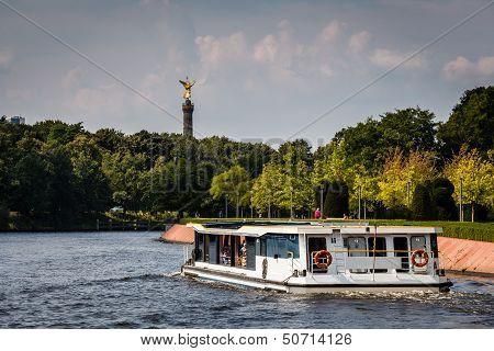 View On Victory Column In Tiergarten Park From Spree River, Berlin, German