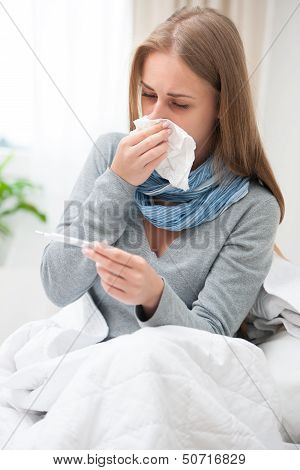 Young Woman Having A Cold