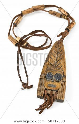 Wooden Necklace With Pendant Of African Woman