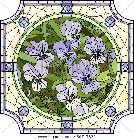 Vector Illustration Of Flower Purple Pansies.