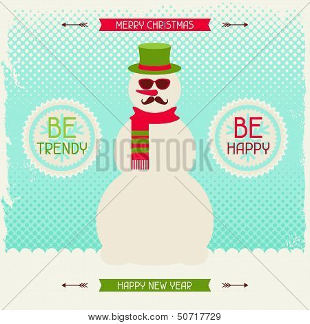 Merry Christmas background with snowman in hipster style.