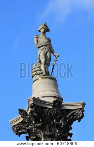 Fragment Of Nelson's Column In Trafalgar Square In London