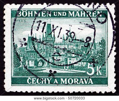 Postage Stamp Czechoslovakia 1939 View Of Prague