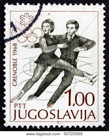 Postage Stamp Yugoslavia 1968 Figure Skating, Pair, Olympic Spor