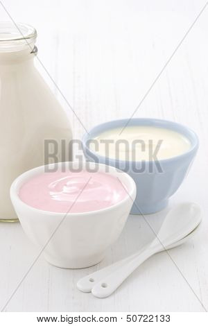 Milk Bottle And Fresh Yogurt