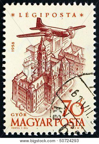 Postage Stamp Hungary 1958 Plane Over Gyor
