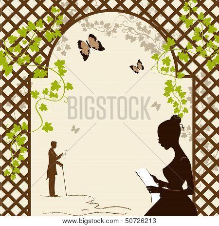 Girl Under The Romantic Arbor