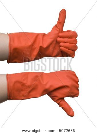 Two Gesturing Hands In Red Glove