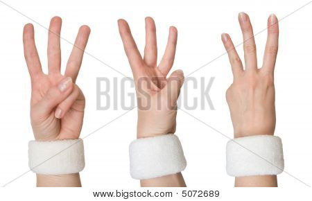 Woman Hand Showing Three From Different Sides