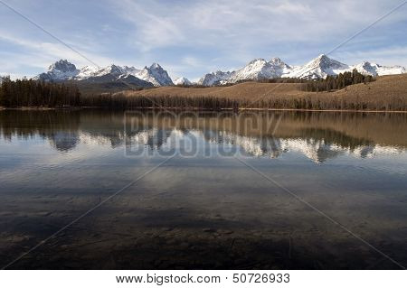 Redfish Lake Water Reflection Sun Valley Idaho Sawtooth Mountain Range