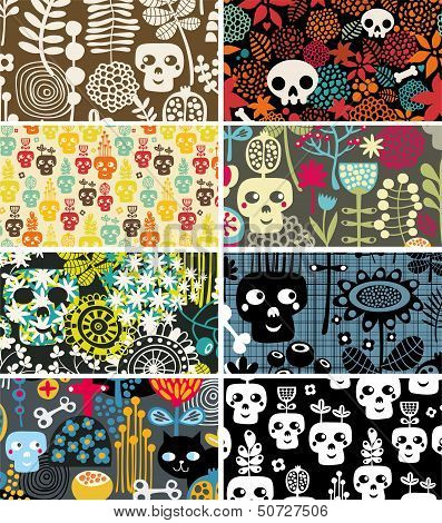 Skulls and flowers cards.