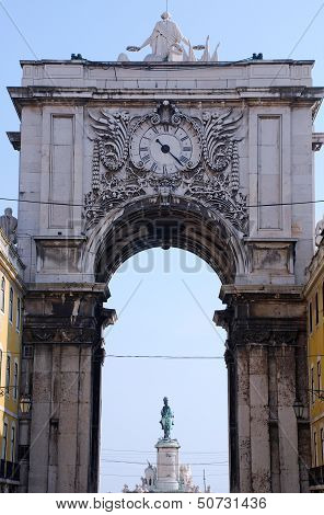 Triumphal Arch With Ornamental Clock (Lisbon, Portugal)
