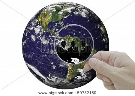 World map with glass and persons. Finding friends.