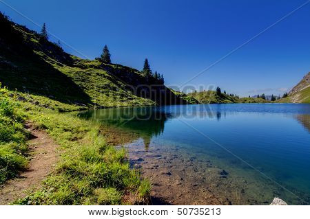 Alpine Lake In The Mountains