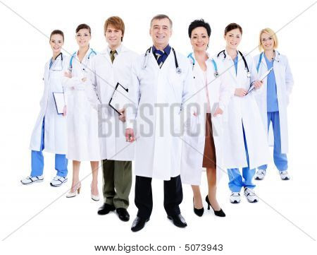Happy Team Of Successful Doctors