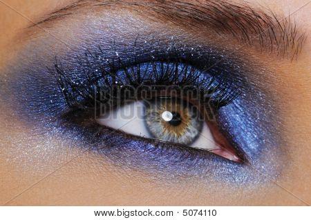 Eye With Bright Blue Eyeshadow