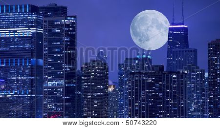 Skyline And Moon