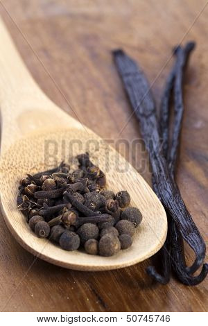 Spices On A Wooden Spoon