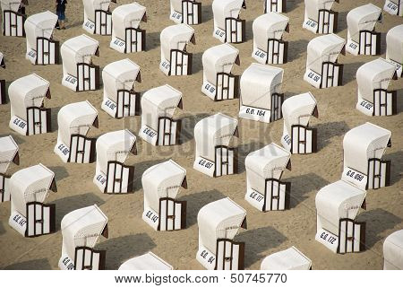 white canopied chairs on Rügen island, Germany
