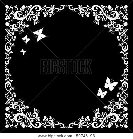 black white beautiful illustration of floral ornament for your design