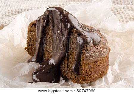 Toffee Pudding With Chocolate Sauce On Paper