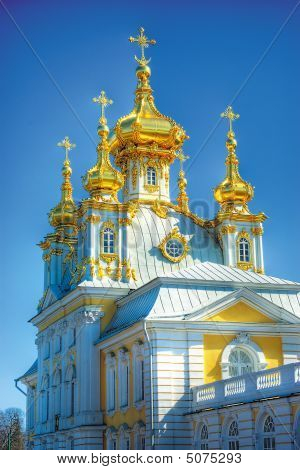 This Beautiful Church Is Situated In Petergof, St. Petersburg, Russia