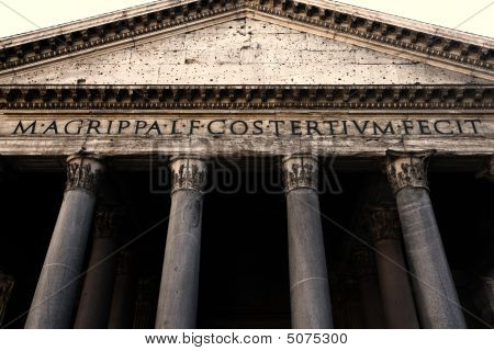 Pantheon Facade In Rome