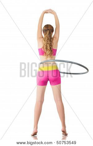 Woman Rotates Hula Hoop