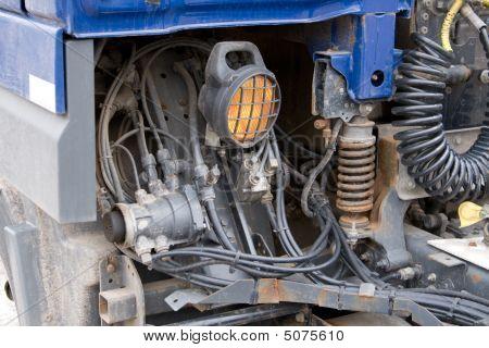 Close- Up Ot Heavy Truck`s Rusty Parts.