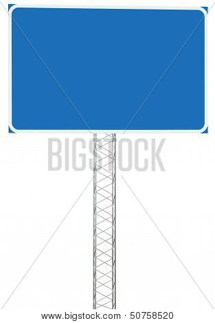 Motorway Road Junction Driving Direction Info Sign Panel Signboard, Large Isolated Blank Empty Blue