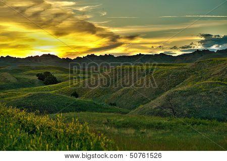 Badlands Sunset Scenery