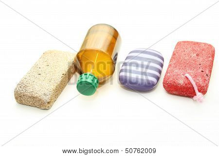 Different Means Of Hygiene - Pumice, Soap And Lotion
