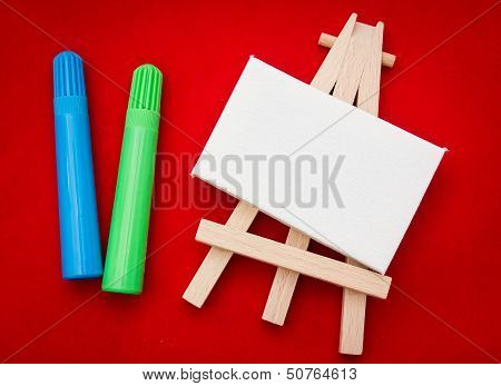 Wooden Easel With White Area