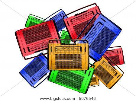 Old Colorful Vintage Retro Radios
