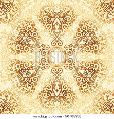 Ornate vintage circle pattern in mehndi style