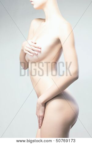 Beautiful Naked Body Isolated On White Background