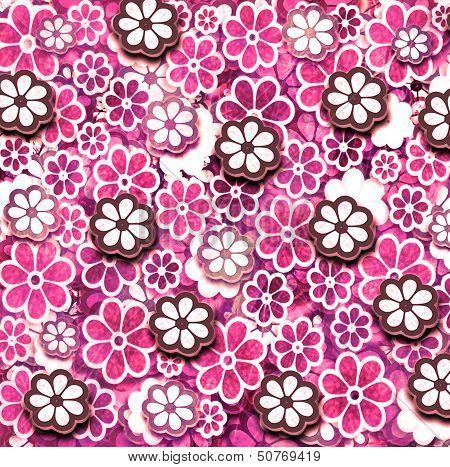Pink Grunge Graphic Flower Pattern