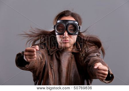 Girl with Goggles and Leather Jacket
