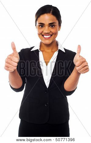Attractive Woman Showing Double Thumbs Up